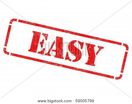 Easy - inscription on Red Rubber Stamp Isolated on White. poster