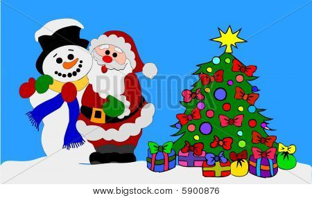 Santa Clause and Snowman with Christmas Tree poster