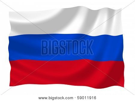 Flag of Russian Federation waiving in the wind illustration