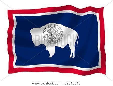 Illustration of Wyoming state flag waving in the wind
