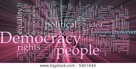 Democracy Word Cloud Glowing