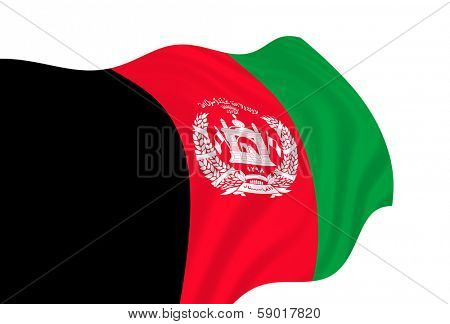 Illustration of Afganistan flag waving in the wind