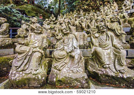 Statues of monks at Nanzoin Temple in Fukuoka, Japan.