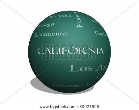 California State Word Cloud Concept On A 3D Sphere Blackboard
