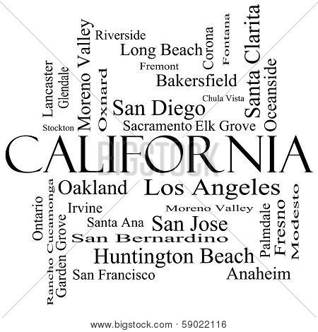 California State Word Cloud Concept In Black And White