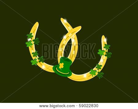 Gold Horseshoes with Clover and Hat