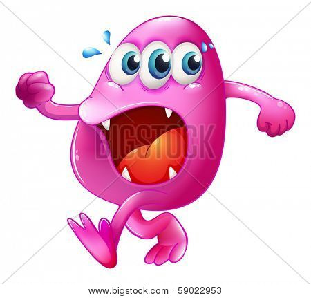 Illustration of a three-eyed pink beanie monster trying to escape on a white background