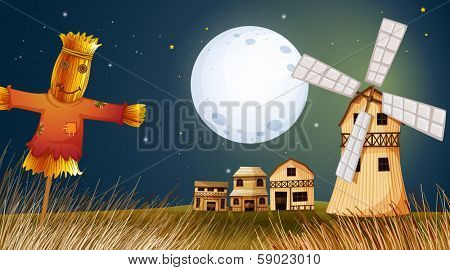 Illustration of a scarecrow in the ricefield near the windmill