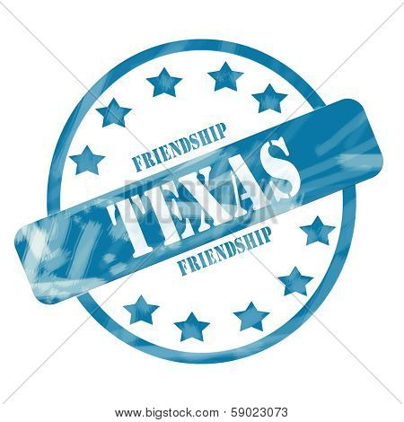 A blue ink weathered roughed up circle and stars stamp design with the word TEXAS with the state motto of FRIENDSHIP on it making a great concept. poster