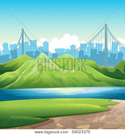 Illustration of a lake near the mountains