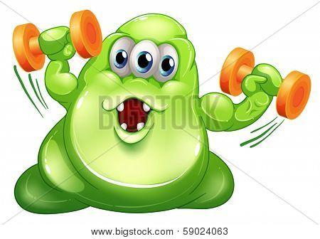 Illustration of a greenslime monster with orange dumbbells on a white background