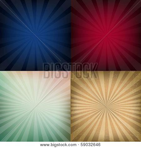 4 Grunge Vintage Sunburst Backgrounds, With Gradient Mesh, Vector Illustration