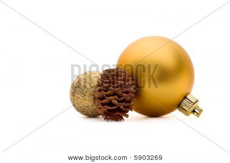 Two Christmas Balls And A Pine Cone