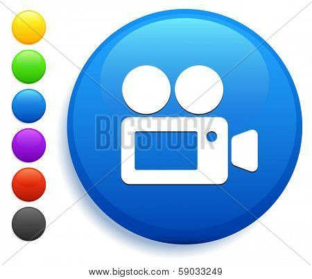 Film Camera Icon on Round Button Collection