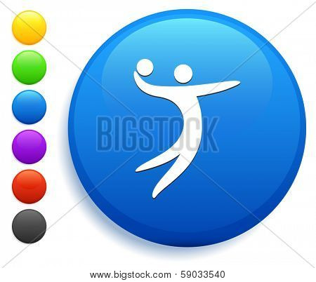 Volleyball Icon on Round Button Collection poster