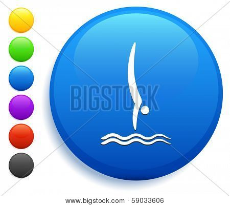 Diving Icon on Round Button Collection poster