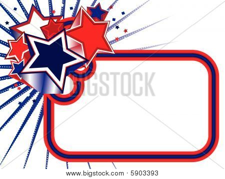 Red, White and Blue Stars Banner on White BKGD