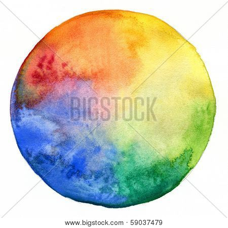Rainbow watercolor painted circle isolated on white background