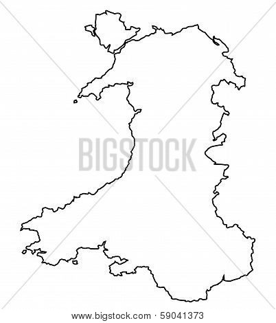 Outline of Wales in the United Kingdom poster