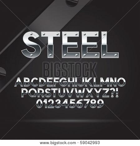 Steel Font And Numbers, Eps 10 Vector, Editable For Any Background