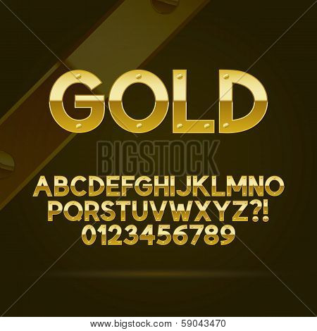Gold Font And Numbers, Eps 10 Vector, Editable For Any Background