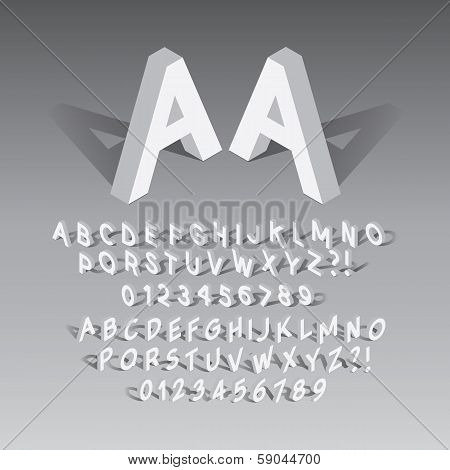 Isometric Font And Numbers, Eps 10 Vector