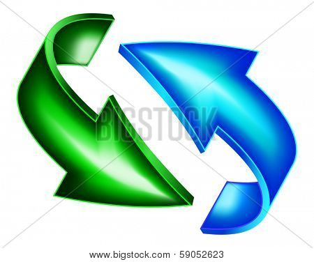 Green and blue arrows