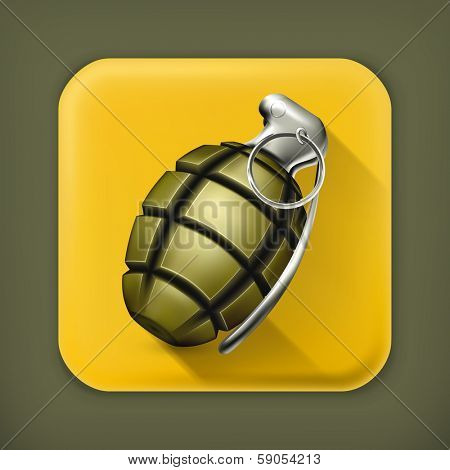 Hand grenade, long shadow vector icon