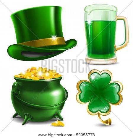 Set of St. Patrick's Day symbols.  Vector illustration
