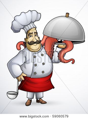 Chef with signature dishes of tentacles