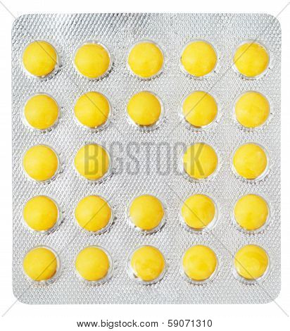 Yellow Pills In Blister Pack Isolated