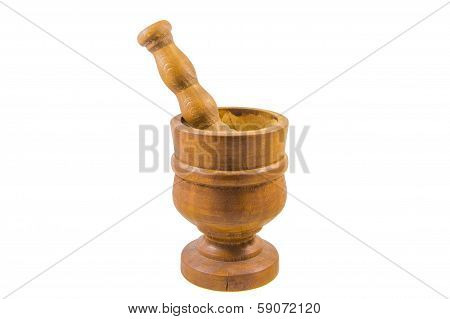 Antique Apothecary Wooden Mortar & Pestle