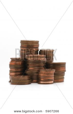 Stacks Of Copper Coins