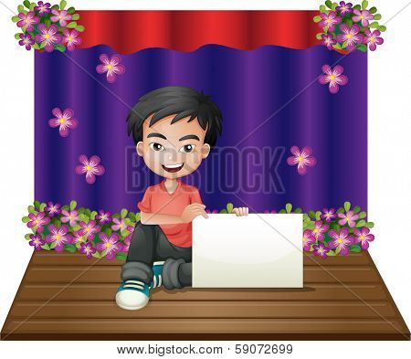 Illustration of a smiling young boy sitting in the middle of the stage holding an empty signage on a white background
