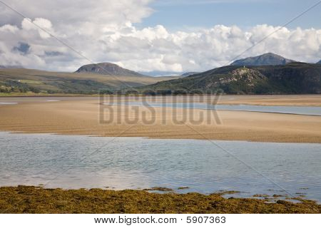 A view on the mountains next to the Kyle of Tongue seen from the Kyle of Tongue bridge, Scotland poster