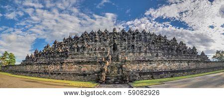 Panorama Buddist Temple Borobudur Complex In Yogjakarta In Java