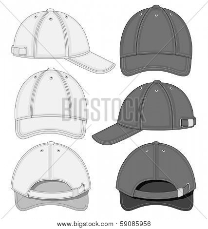 Vector illustration of baseball cap (front, back and side view). Black and white variants. No mesh. Color redact easy.
