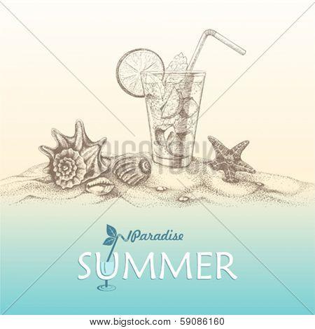 Summer holidays hand-drawn, sandy beach with seashells, starfish and cocktail .