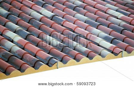 Prefabricated roof polyurethane foam isolated on white poster