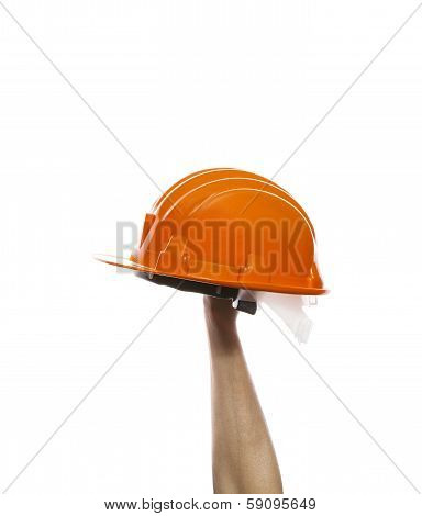 male hand rising up orange safety helmet isolated on white background use for multipurpose poster