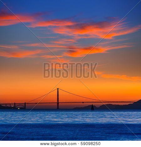Golden Gate bridge sunset in San Francisco California USA