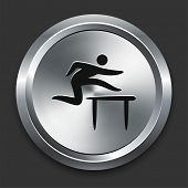 Hurdle Icon on Metallic Button Collection poster