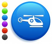 Helicopter Icon on Round Button Collection poster