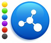 Molecule Icon on Round Button Collection poster