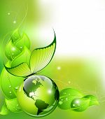 Think Green concept: environment and nature abstract composition poster