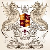 Vector heraldic illustration in vintage style with shield crown and winged dragon for design poster