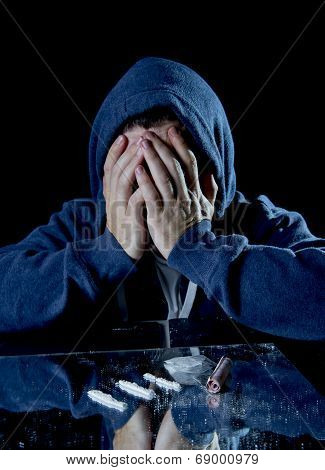 Depressed Sick Looking Cocaine Addict Man Sniffing Coke