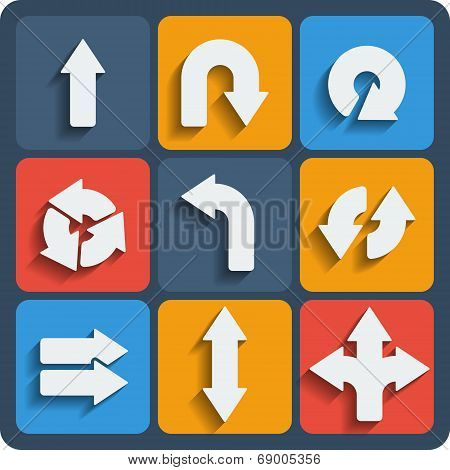 Set Of 9 Arrows Web And Mobile Icons. Vector.