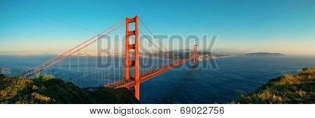 Golden Gate Bridge panorama in San Francisco as the famous landmark.