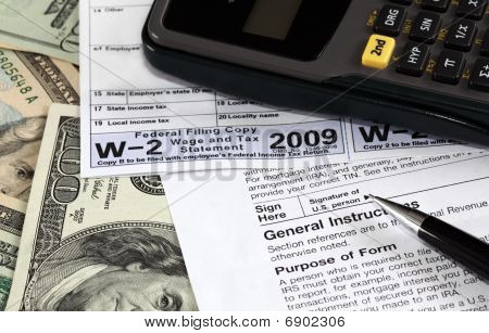 W-2 and W-9 Forms on US dollars poster